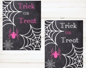 Trick or Treat  Halloween Instant Print Sign Pink Printable Instant Download