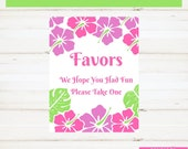 Beach Wedding Tropical Wedding Shower Favors Sign Pink