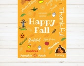 Fall Sign, Thanksgiving Sign, Instant Print, Happy Fall Sign, Printable, Instant Download