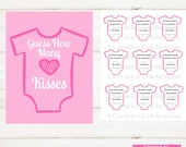 Baby Shower Game, Instant Printable, Fun Shower Game, Pink Onesie, Guess How Many Kisses Game