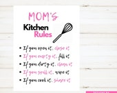 Kitchen Sign Moms Kitchen Sign Moms Kitchen Rules Sign Pink