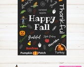 Instant Print Sign, Happy Fall, Happy Thanksgiving, Fall Decor Sign, Thankful Sign, Thanksgiving Printable