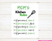 Kitchen Sign Moms Kitchen Sign Moms Kitchen Rules Sign Green Instant Print