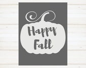 Gray and White Pumpkin, Happy Fall Instant Print, Fall Printable, Happy Fall Printable,  Fall Printable, Thanksgiving, Pumpkin Sign