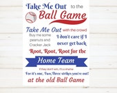 Baseball Party Printables Instant Downloan Boys Room Decor Take Me Out to the Ball Game sign
