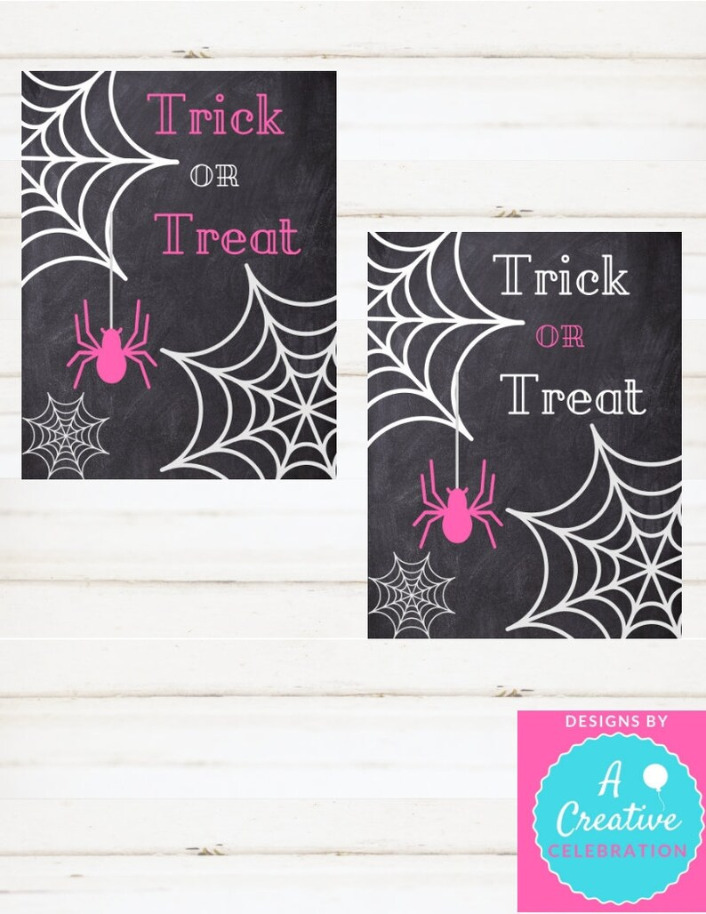 Trick or Treat  Halloween Instant Print Sign Pink Printable image 0