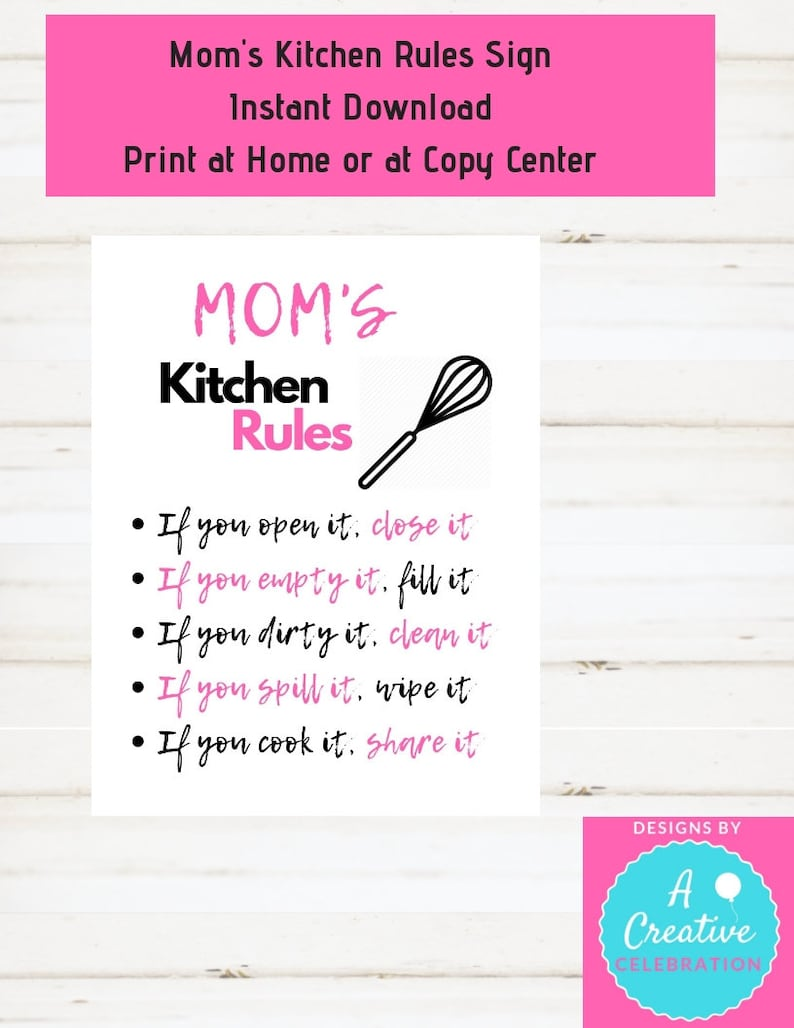Kitchen Sign Moms Kitchen Sign Moms Kitchen Rules Sign Pink image 0