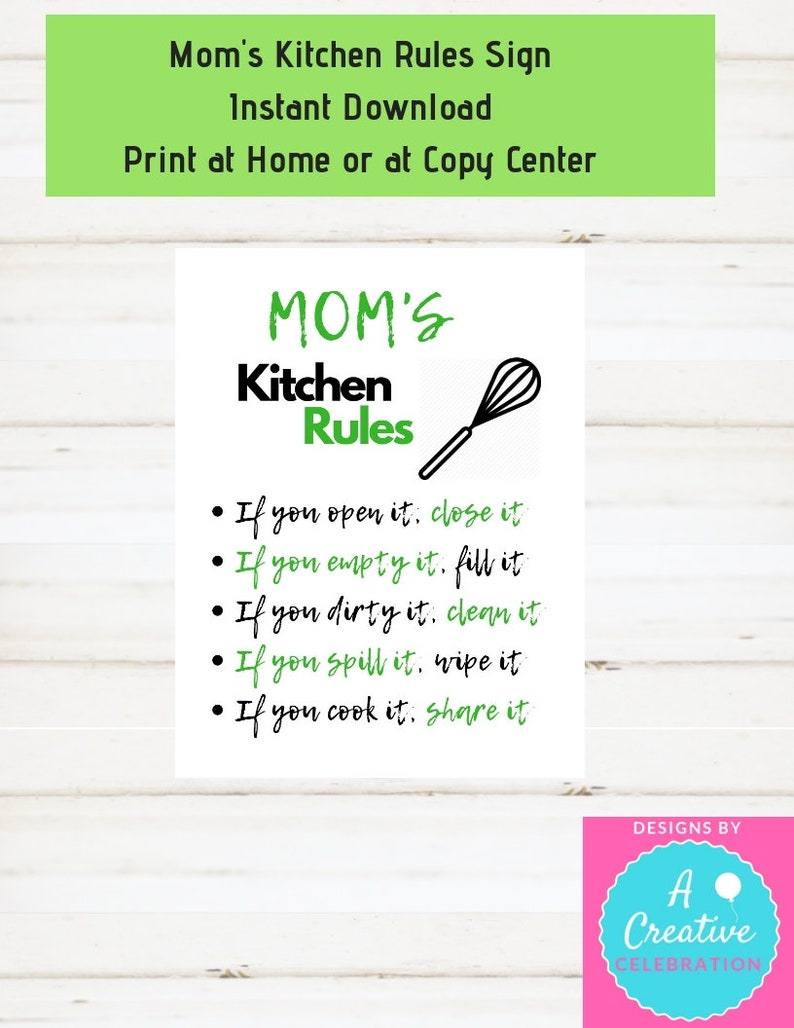Kitchen Sign Moms Kitchen Sign Moms Kitchen Rules Sign Green image 0