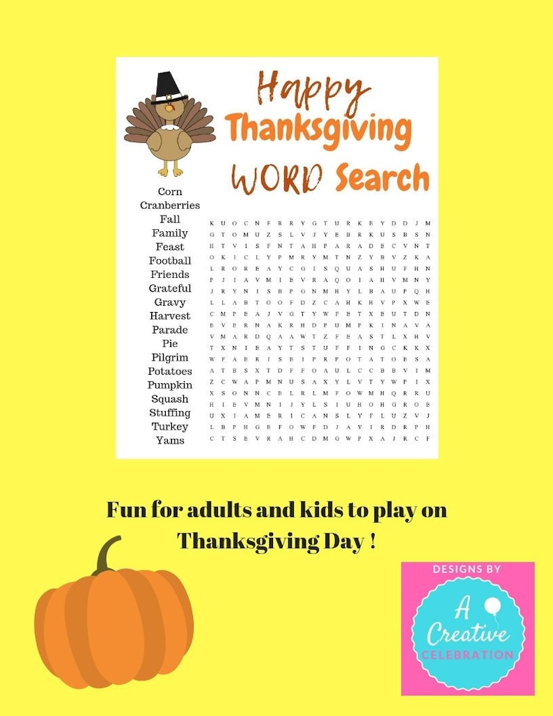 Print at Home fun game for Thanksgiving Word Search Seek and image 0