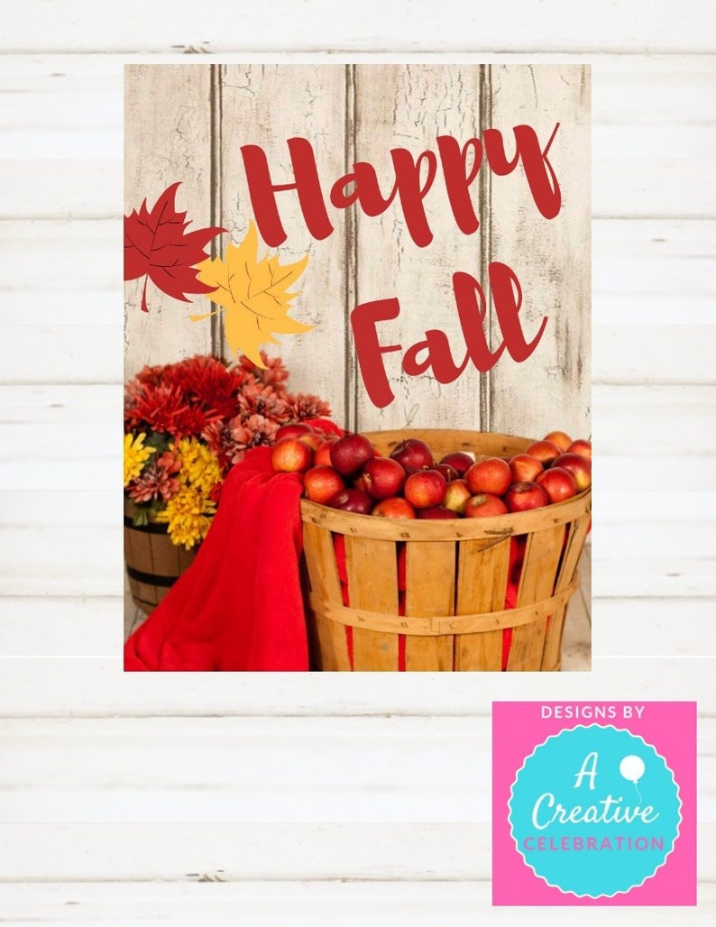 Fall Sign Happy Fall Autumn Sign Printable  Happy Fall image 0
