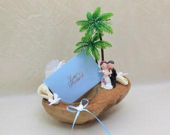 Hochzeits-Kokosnuss, Hochzeitskarte, Hochzeitsgeschenk, Hochzeit Geldgeschenk, Gutschein, Flitterwochen, Hochzeitsreise, Geld verschenken