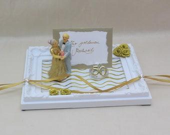 Geschenk zur goldenen Hochzeit, Geldgeschenk, Gutschein, Goldhochzeit, Kunststoff-Rahmen, 50 jähriges Jubiläum, Geldgeschenk verpacken