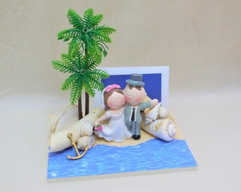 mini Hochzeitskarte, Strandhochzeit, Geldgeschenk Hochzeit, Gutschein Hochzeit verpacken, Hochzeitsgeschenk, Flitterwochen, Hochzeitsreise
