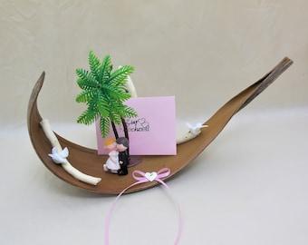 Hochzeitsgeschenk Kokosblatt, Hochzeitskarte, Hochzeitsreise Geschenk, Geldgeschenk, Gutschein verpacken, Geschenkbox, Strandhochzeit Geld