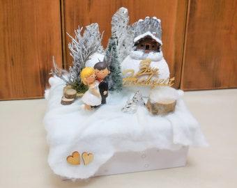 Box Winterhochzeit, Flitterwochen Geld, Hochzeit Geldgeschenk, Hochzeitsgeschenk, Hochzeit Gutschein verpacken, Hochzeitskarte, Geschenkbox