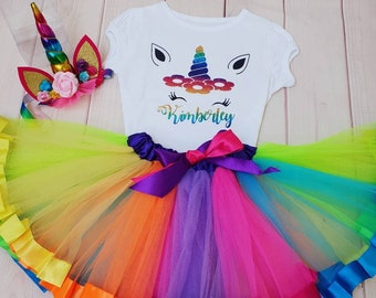 d558838ee Any name Girls Unicorn Birthday outfit dress Tutu Top T-shirt 1st 2nd 3rd  4th 5th 6th 7th 8th personalised rainbow cake smash party outfit