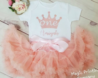 22afd263f Baby Girls 1st Birthday outfit Personalised Rose Gold Crown cake smash  Flower headband dress suit Bodysuit pinkTutu photoshoot gift party