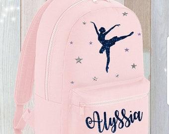 a25e54ec9515 Ballet Bag BackPack Personalised Holdall baby Glitter Dance Dancer  Ballerina bag Stage Costume Tap Jazz shoe hair Name Rucksack Holdall Gym