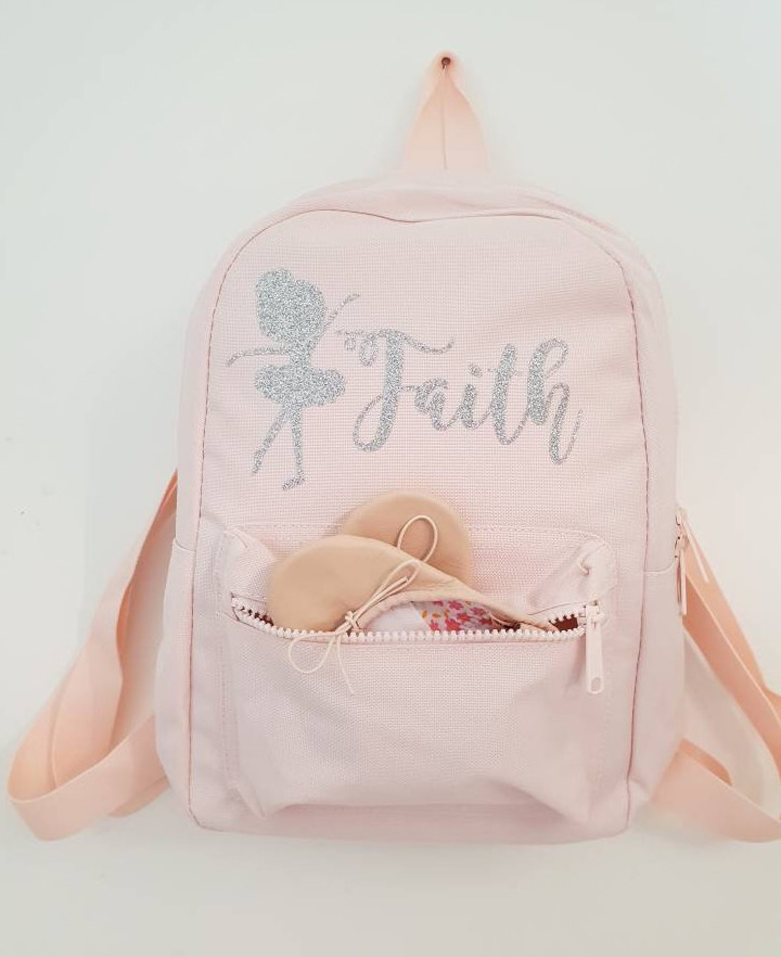 personalised ballet bag girls mini back pack pink dance sack holdall baby light pink ballerina dancer stage costume tap jazz sho