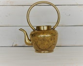 Small Vintage Brass Teapot with Handle Vintage kettle pot Vintage etched brass teapot vintage metal teapots brass teapots