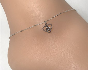 Beach Wedding Sterling Silver Beaded Ankle Bracelet Cat Charm Anklet Chain Cat Anklet Cat With Pearl Anklet Good Luck Charm Jewelry