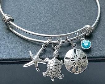Seaside Charm Bracelet Handmade silver and gold seashell fish marine charm bracelet Beach bracelet  gift idea Ocean lover Charm Bracelet