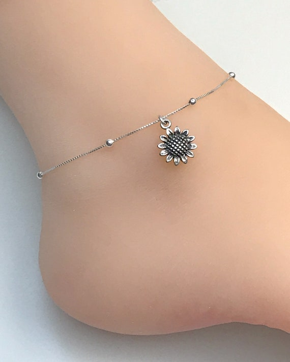 Beach Wedding Anklet Blue Sapphire CZ Anklet CZ Charm Anklet Sterling Silver Beaded Ankle Bracelet Bridesmaid Gift Barefoot Jewelry