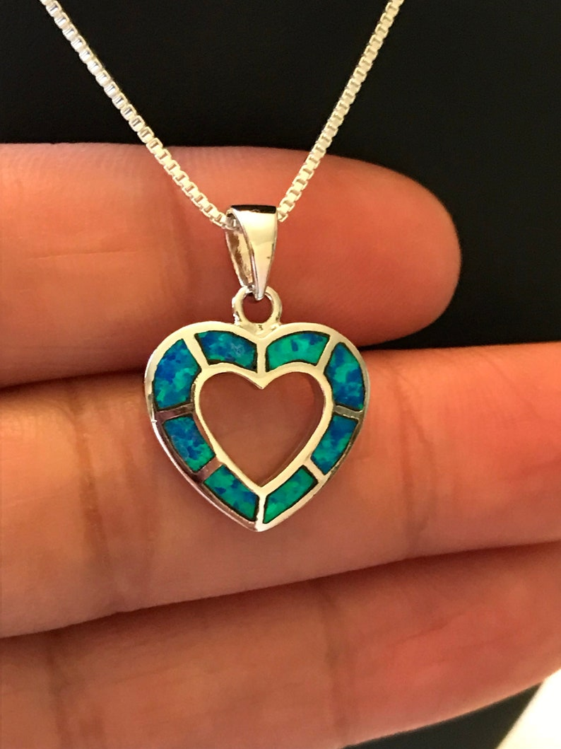 Lab Created Heart Blue Heart Opal with CZ .925 Sterling Silver Pendant