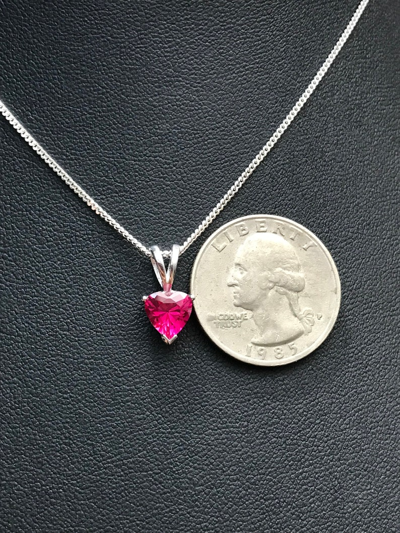 July Birthstone Necklace Dainty Sterling Silver Necklace Minimalist Ruby Red Pendant Ruby Heart Necklace
