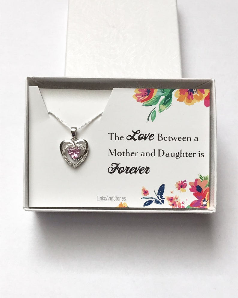 Mother Daughter Jewelry Pink CZ Pendant Small Heart Necklace Gift For Daughter Sterling Silver Dainty Necklace
