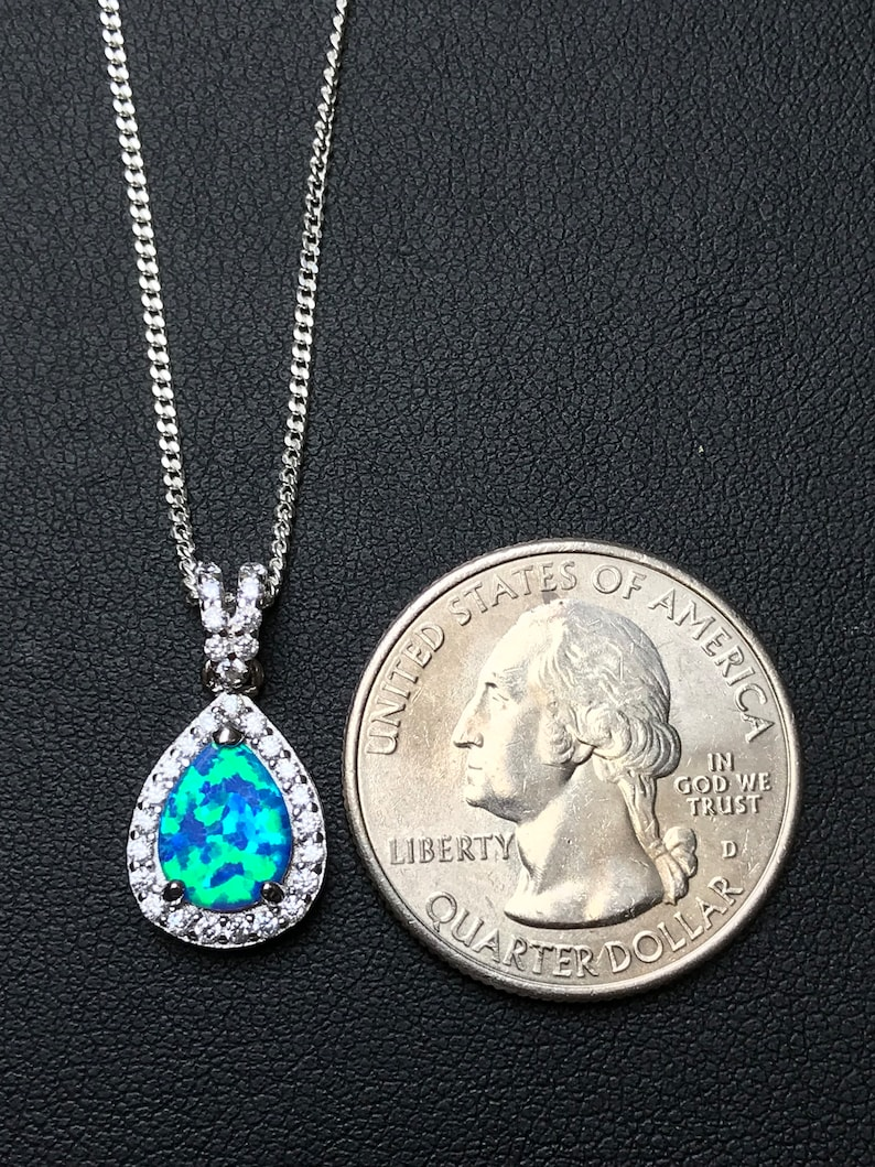Pink Fire Opal Necklace Sterling Silver Pink Opal Teardrop Pendant October Birthstone Jewelry