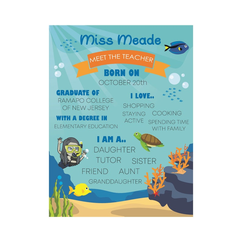 Under The Sea Meet The Teacher Sign Under The Sea Classroom Decorations Under The Sea Classroom Decorations Meet The Teacher Sign