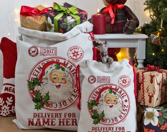 personalised christmas santa sack vintage xmas gift bag post mail present ns002 - Does Mail Get Delivered On Christmas Eve