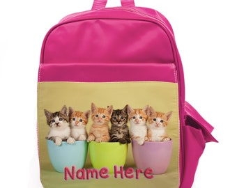 Personalised Kids Backpack Any Name Puss In Boots Girl Childrens School Bag