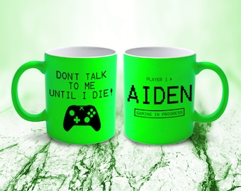 4f842588331 Personalised Neon XBOX GAMER Mug Cup Coffee Tea Green Gift NM16