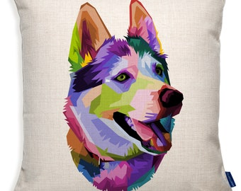 Home Decor Gift Watercolour Dog Breed Printed Linen Cushion Cover HUSKY