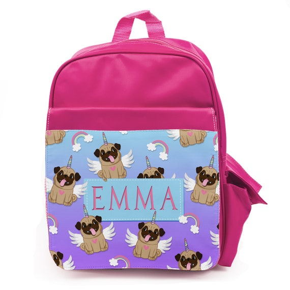 Personalised Girls Backpack CUTE PUG UNICORN Kids School Bag Name Pink KS144