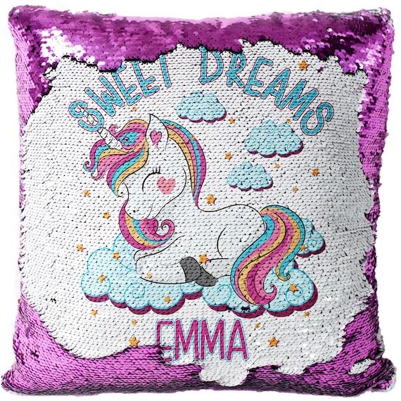 Personalised Unicorn Magic Sequin Mermaid Cushion Cover 5 Colours