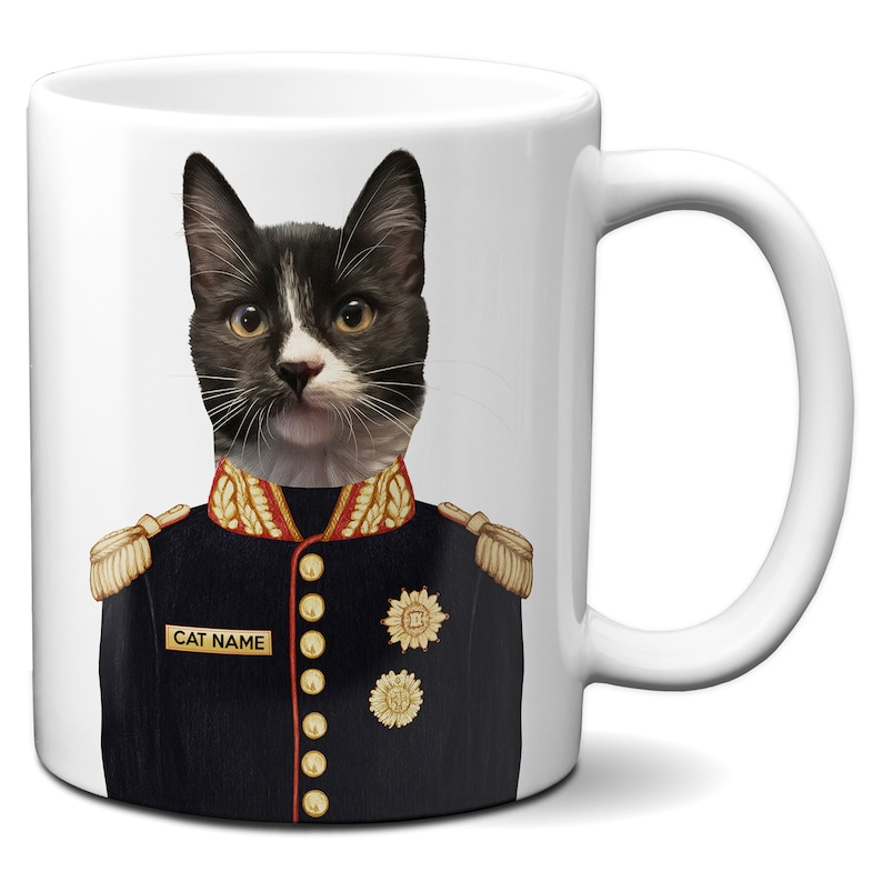 Personalised CAT Mug Cup Coffee Tea Funny Kitten Military Uniform Portrait