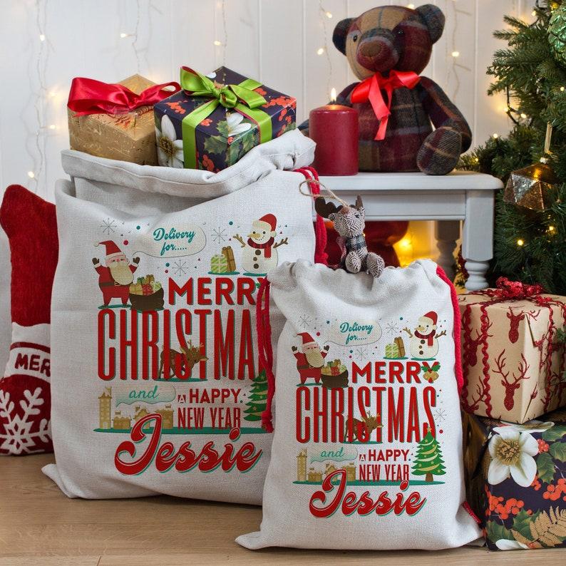 Personalised Any Name Santa Sack Christmas Reindeer Xmas Bag Stocking 13