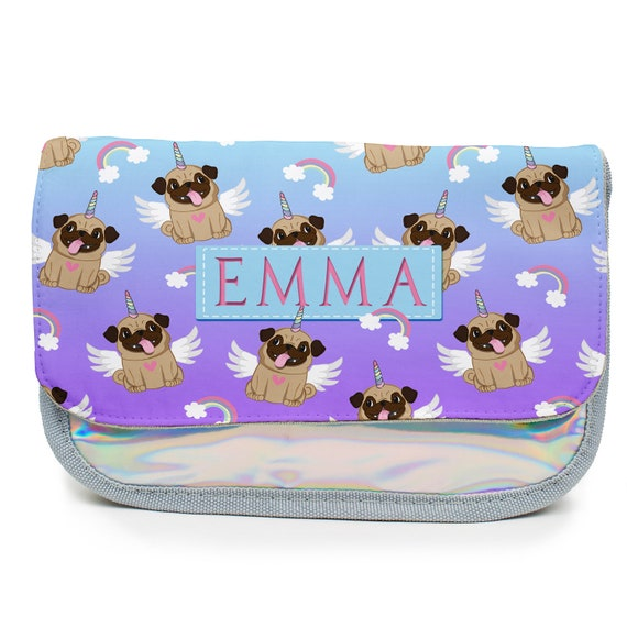 PERSONALISED CUTE PUG FACE PENCIL CASE BACK TO SCHOOL OWN NAME DOG PUPPY