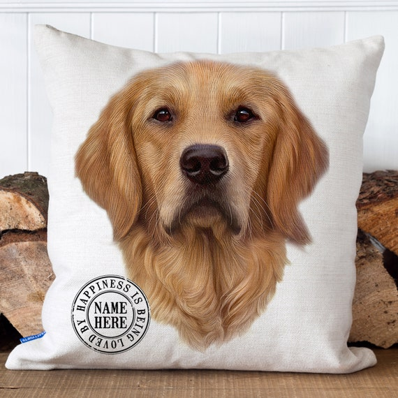 Personalised Golden Retriever Dog Cushion Pet Name Cover Home Art Retro Gift HP04