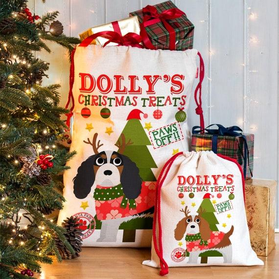 Personalised Dog Santa Sack CAVALIER KING CHARLES Christmas Bag Xmas Treat Gift CDS63