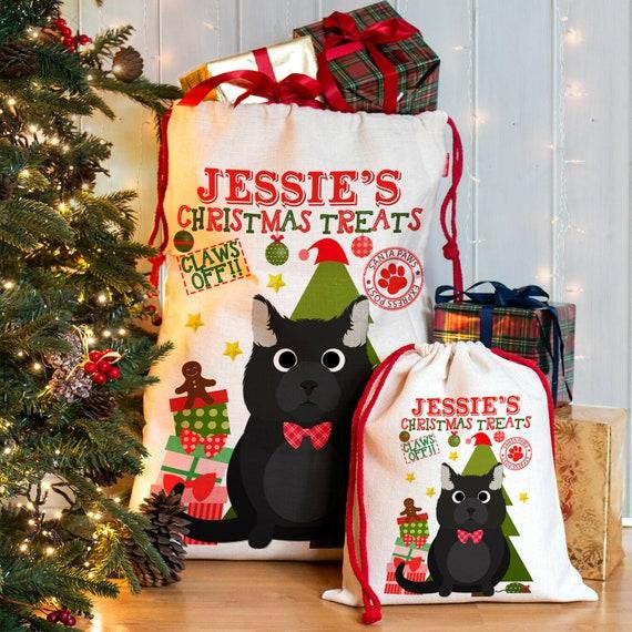 Personalised Christmas Tartan Cat Dog Pet Santa Sack Cotton Canvas Bag Stocking