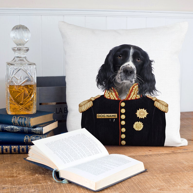 Personalised SPRINGER SPANIEL Cushion Cover Military Sofa image 2