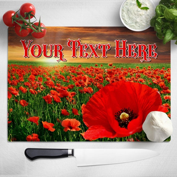 Glass Worktop Saver Chopping Board Poppy Fields Design