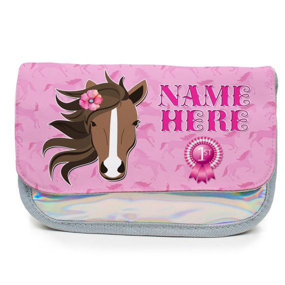 Personalised Pencil Case UNICORN RAINBOW Holographic Shiny Silver Girls KS152