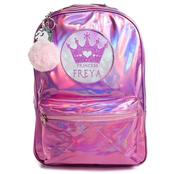 PRINCESS Bag Girls School Backpack Shiny Holographic Pink Bag Personalised PH19