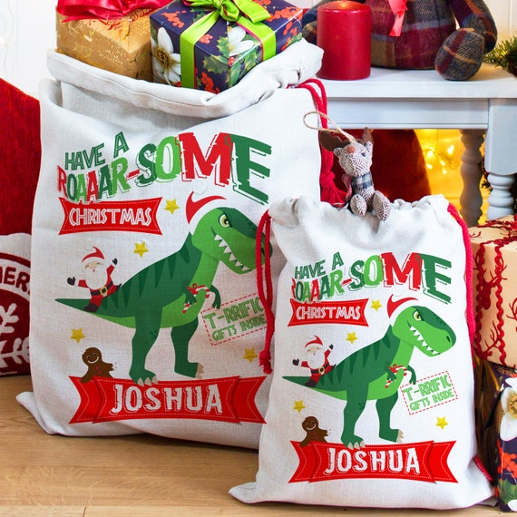 Dinosaur Christmas.Dinosaur Christmas Sack Personalised T Rex Boys Santa Gift Bag Xmas Eve Present Ns021