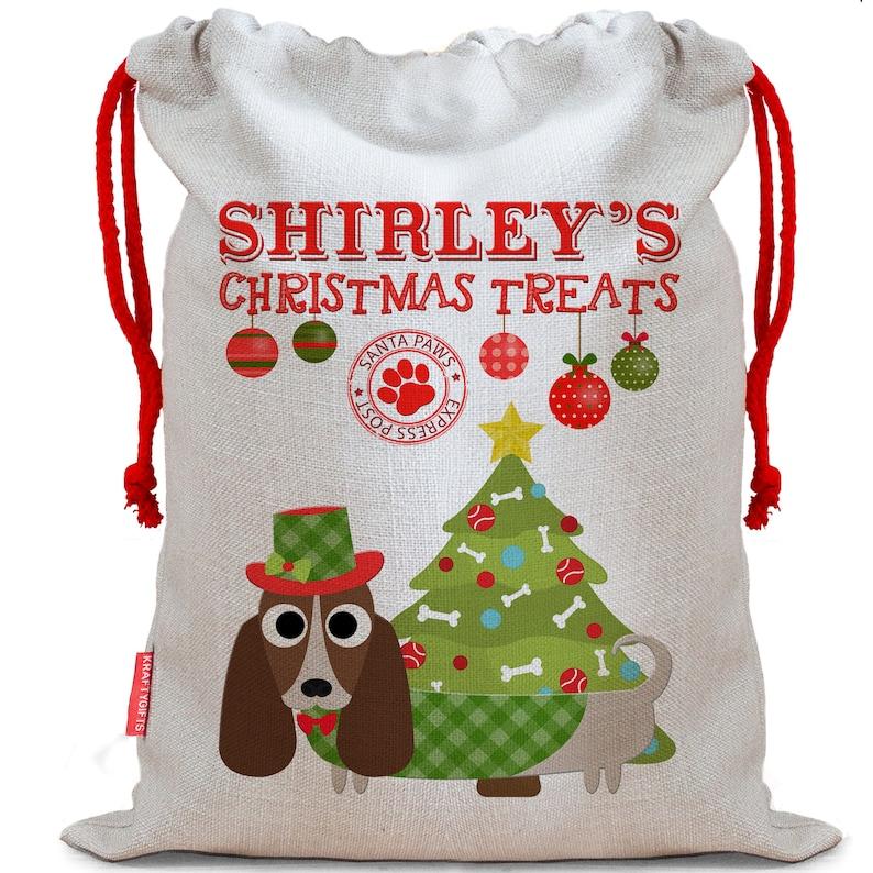 Personalised Dog Santa Sack BASSET HOUND Christmas Bag Xmas Treat Gift CDS05